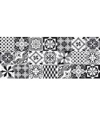 Tapis absorbant boston carreaux de ciment noir 50x120cm
