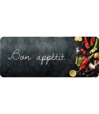 Tapis de cuisine bon appetit noir - 120 x 50