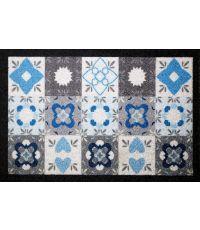 Tapis dallas carreau de ciment bleu/gris - 60 x 40