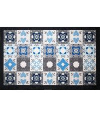 Tapis dallas carreau de ciment bleu/gris - 80 x 50