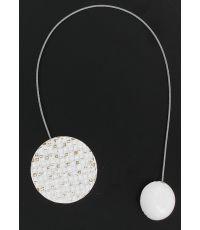 Embrasse métallisee aimantée ronde mosaique Newport - blanc/or