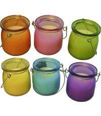 Bougie citronnelle lanterne verre - multicouleur