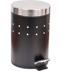 Poubelle à pédale métal avec couvercle 3L - noir/couvercle acier