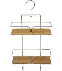 Serviteur fil métal/2 étagères bambou - chrome/bambou