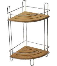 Étagère d'angle fil métal/bambou 2 niveaux - chrome/bambou