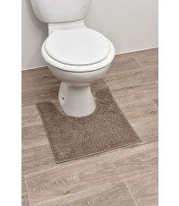 Tapis contour WC polyester 45 x 50 cm - taupe