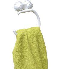 Porte serviettes forme arrondie sur ventouses - blanc