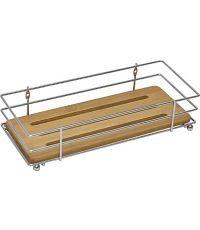 Panier rectangulaire structure métal/plateau bambou - chrome/bambou