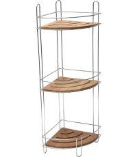 Étagère d'angle fil métal/bambou 3 niveaux - chrome/bambou