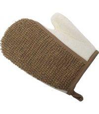 Gant de massage exfoliant corps chanvre/bambou - creme/naturel fonce - TENDANCE