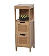 Élément bas bambou et MDF 2 tiroirs/1 étagère Mahe