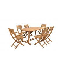 Ensemble de jardin table et chaises en bois d'acacia