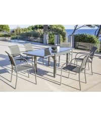 Table de jardin extensible en aluminium et verre