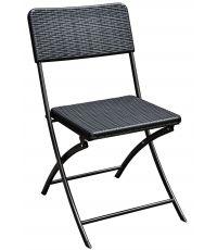 Chaise pliante en rotin noir