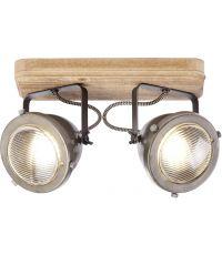 Plafonnier 2 lampes industriel Carmen Wood BRILLIANT