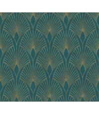 Papier Peint Vinyl Lourd Intissé Glamourous Pétrole Or 5,3m² - AS CREATION