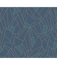 Papier Peint Vinyl Lourd Intissé Mosaique Art Deco Bleu 10,05x0,53m