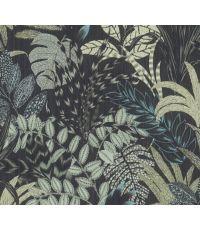 Papier Peint Vinyl Lourd Intissé Mur Vegetal Bleu Noir 10x0,53m