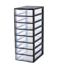 Tour de rangement 8 tiroirs noire 6 litres - SUNDIS