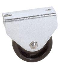 Roulette fonctionnelle à platine fixe polychoc noir Ø25mm - Charge supportée 12 kg - CIME