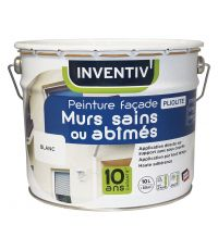 Peinture façade Murs Sains ou Abîmés Blanc 10 L - INVENTIV