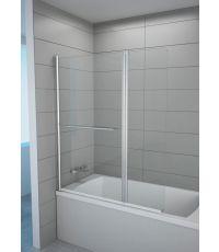 Pare baignoire 2 volets transparents h140x120 cm