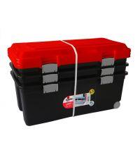 Lot de 3 coffres de rangement plastique 75L noir et orange - SUNDIS