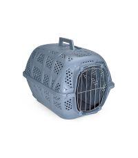 Cage pour transport des animaux métal bleu azur 48.5 x 34 x 32cm - IMAC