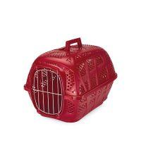 Cage pour transport des animaux métal rouge 48.5 x 34 x 32cm - IMAC