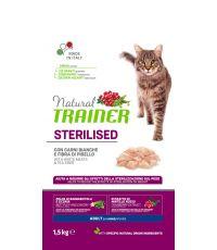 Nourriture à la viande pour chat adulte stérilisé 1,5kg - NATURAL TRANER