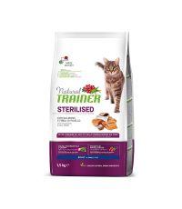 Nourriture au saumon pour chat adulte stérilisé 1,5kg - NATURAL TRANER