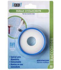 Ruban d'étanchéité PTFE gros diamètre 19 mm / blister - GEB