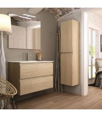 Meuble salle de bain Inglet 80 + miroir coloris bambou LED - EGORE