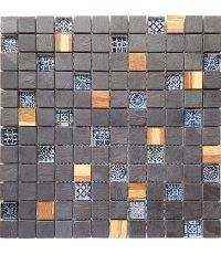 Mosaïque ardoise verre et bois - 30 x 30 cm