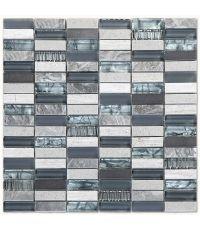 Mosaïque marbre verre et métal - 30 x 30 cm