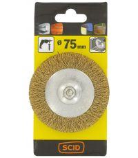 Brosse circulaire fils acier laitonné ondulés Ø 75 mm - SCID