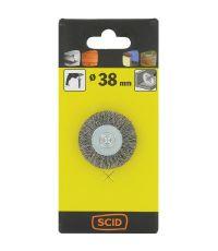 Brosse circulaire fils acier laitonné ondulés Ø 38 mm - SCID