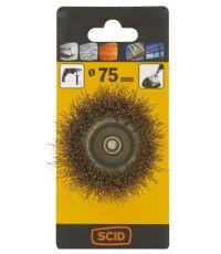 Brosse conique fils acier laitonné ondulés Ø 75 mm - SCID