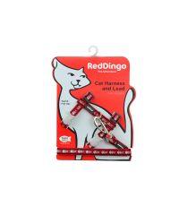 Harnais et laisse pour chat Fish Bone rouge - RED DINGO