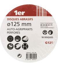 10 Disques abrasifs auto-agrippants perforés Diam. 125 GR120 - 1ER