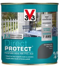 Peinture multi-supports direct protect satin 0.5L anthracite - V33