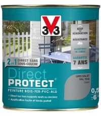 Peinture multi-supports direct protect satin 0.5 l gris galet - V33