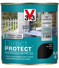 Peinture multi-supports direct protect satin 0.5L noir - V33
