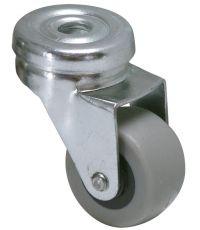 Roulette pour léger déplaçement à œil pivotante 6mm caoutchouc gris non tâchant Ø32MM - Charge supportée 20 kg - CIME
