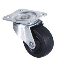 Roulette économique à platine pivotante caoutchouc noir Ø40mm - Charge supportée 20 kg - CIME