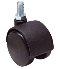 Roulette décorative à tige filetée polypro noir Ø50mm - Charge supportée 40 kg - CIME